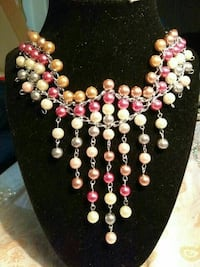 silver with silver,white ,pink and gold pearl beads bib necklace