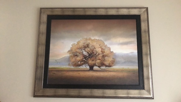 brown wooden framed painting of brown tree