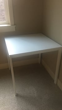 rectangular white wooden  table