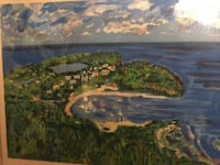 """SIGNED AND NUMBERED BY ARTIST LOUIS NIZER FRAMED ART (w/ frame, approx 34"""" x 28.5"""") Sky sea ships town art (ESTATE FIND) Glendale, 91203"""