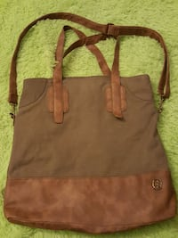 Green canvas and  leather bag