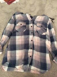 White and blue plaid button-up hooded shirt Winnipeg, R3K 1P6