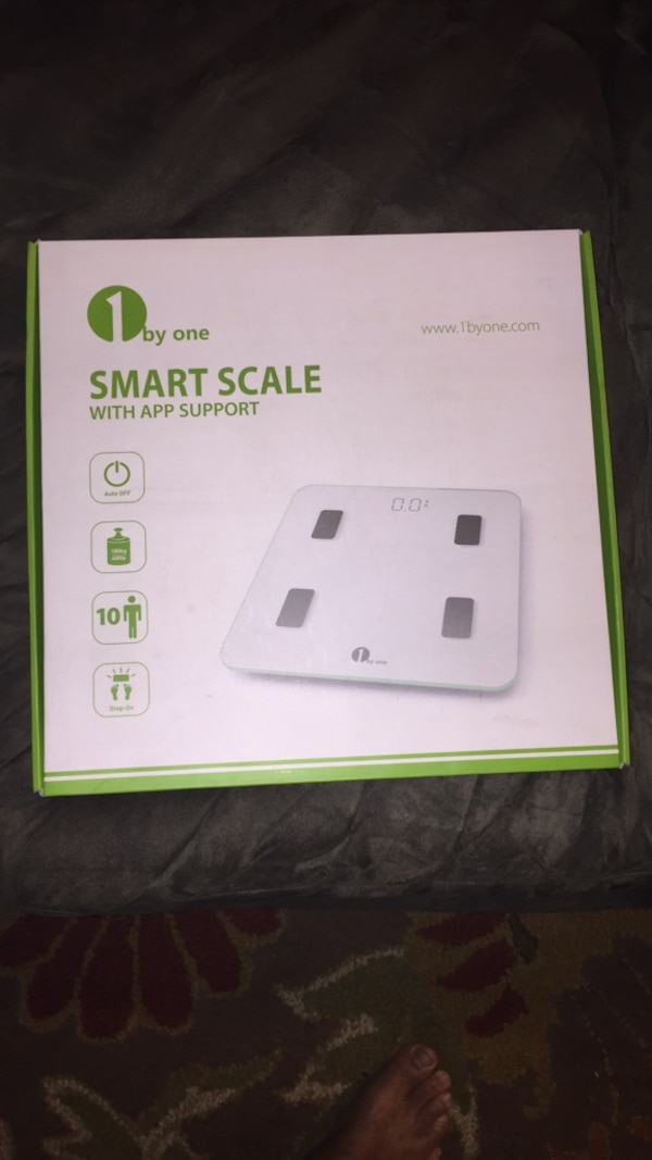 Brand new, never opened.  1byone Bluetooth Body Fat Scale with IOS and Android App Smart Wireless Digital Bathroom Scale for Body weight, Body Fat, Water, Muscle Mass, BMI, BMR, Bone Mass and Visceral Fat, White