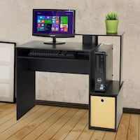 New Home Office Computer Writing Desk, Black/Brown Charlotte