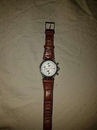 round silver chronograph watch with brown leather strap West Springfield, 22152