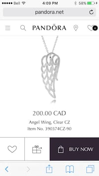 Silver-colored angel wing pandora pendant and necklace