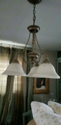 white and brown uplight chandelier Mahwah, 07430