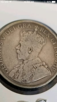 1918 Canada King George V silver coin 50c  VF-35 Cleaned 3155 km