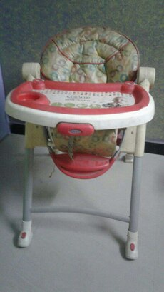 brown and red high chair