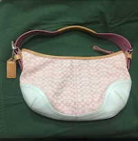 Coach Pink White Tan Leather Shoulder Hobo Purse  Springfield, 22153