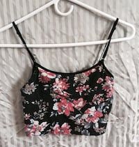 black, white, and red floral spaghetti strap crop top Manassas, 20109