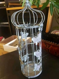 Bluish gray bird cage candle holder  Kingston