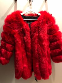 Brand New Red Faux Fur Jacket VANCOUVER