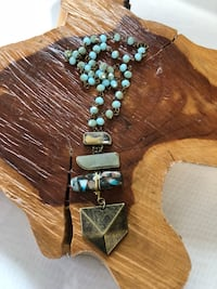 Handmade Blue Crystal Rondelle Bead Gemstone with Charm Pendant Necklace  West Covina, 91791
