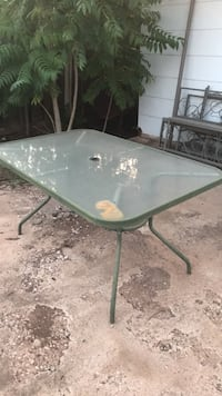 rectangular clear glass top patio table with gray metal base Odessa, 79762