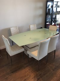 rectangular white wooden table with six chairs dining set Long Beach, 90802