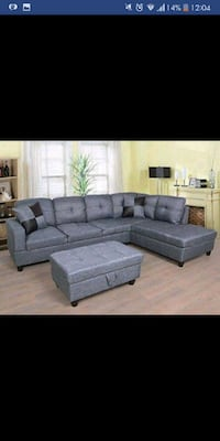 Brand New Grey Sectional With Ottoman 1297 mi