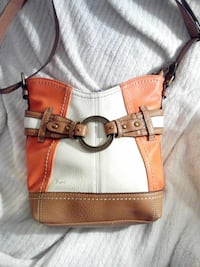 white, orange, and brown leather buckle crossbody bag
