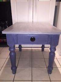 Gray and blue wooden side table