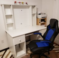 White computer desk with removable hutch and keyboard tray  Toronto