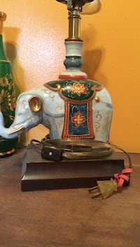 Blue ceramic handpainted elephant lamp Longview, 98632