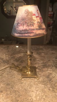 brown and white table lamp