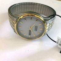 round gold-colored analog watch with link bracelet Parma, 44130