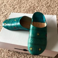 Imported from Morocco 100% genuine turquoise leather shoes. Alexandria, 22312