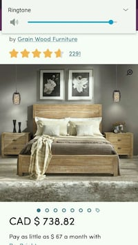 brown wooden bed frame with white bed sheet set Montréal, H1Z 4K5