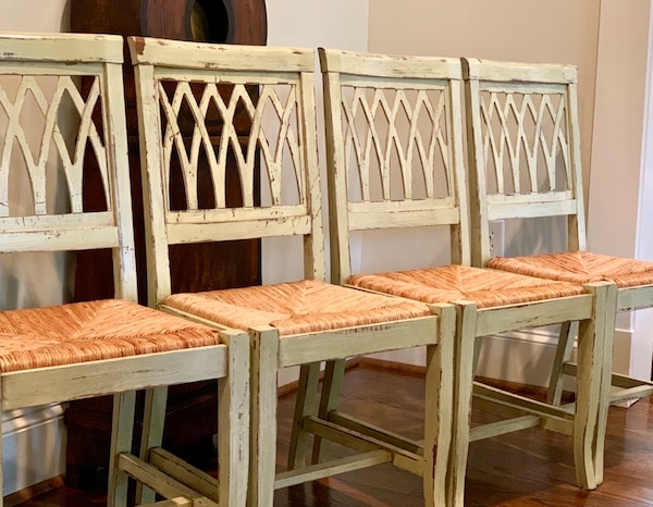 Set of 4 Sage Green Dining Chairs With Rush Seats