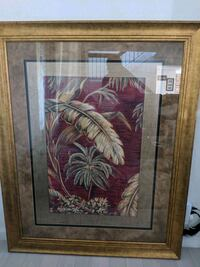 brown wooden framed painting of pink flowers 2391 mi
