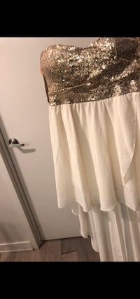 High low white and gold dress