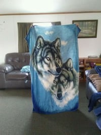 teal, blue, white, and black wolf printed towel Gobles, 49055