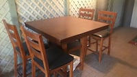 Rectangular brown wooden table with four chairs dining set Escondido, 92025