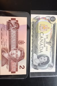 Canada last 1973 $1 & last 1986 $2 bill Uncirculated  Waterdown, L8B 0P5