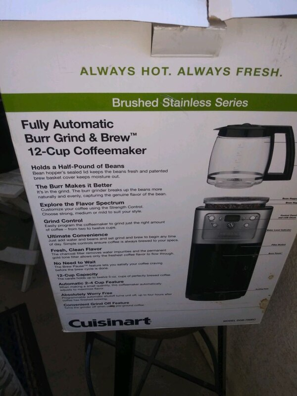 Cuisinart coffer maker with grinder new in the box d3760ea3-1396-465f-97e5-f8563b00017c