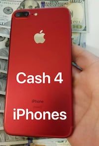 red iPhone 7 Plus with text overlay Hagerstown, 21742