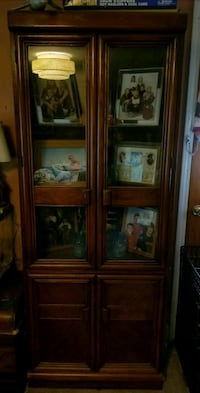 brown wooden framed glass display cabinet Nappanee, 46550