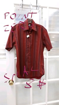 red and white button-up shirt East Angus