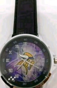 Stainless steel Minnesota Vikings leather watch Mobile, 36693
