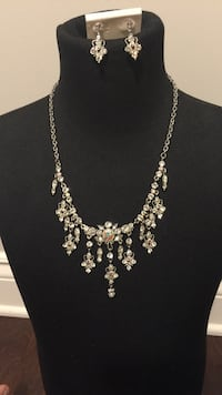 Costume diamond necklace and earrings set