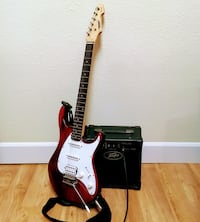 Red and white stratocaster electric guitar Denver, 80014