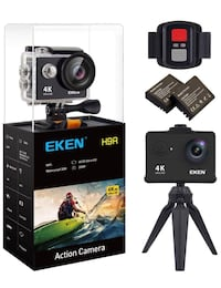 brand-new EKEN H9R Action Camera 4K WiFi Waterproof Sports Camera Full HD  [PHONE NUMBER HIDDEN] p60 720p120 Video Camera 20MP Photo and 170 Wide Angle Lens Includes 11 Mountings Kit 2 Batteries Black 阿卡迪亚, 91007