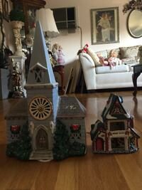 Christmas lighted ceramic Church and Work shop Methuen, 01844