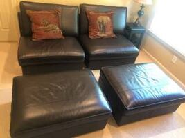 Dark Brown Leather chairs & matching ottomans - Like new, barely used