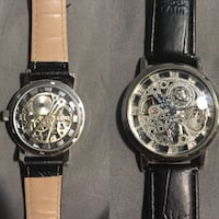 two round silver chronograph watches with black leather straps Toronto, M1T