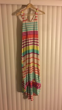 women's red, white and blue stripes sleeveless dress