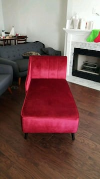 red suede padded chair with brown wooden frame Charlotte, 28215