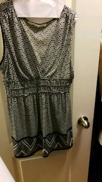 women's gray, black, and white sleeveless midi dress Vaughan, L6A 1P9