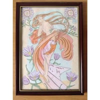 A4 FRENCH LADY PENCIL COLOUR WALL ART IN FRAME  London